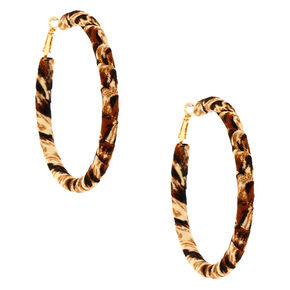 Gold 70MM Leopard Wrap Hoop Earrings,
