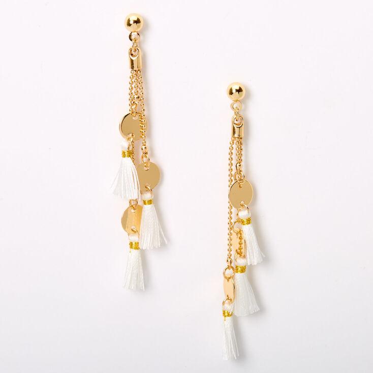 """Gold 2.5"""" Disc Tassel Drop Earrings - White,"""