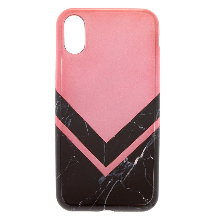 Black Marble & Rose Gold Phone Case - Fits iPhone X/XS,