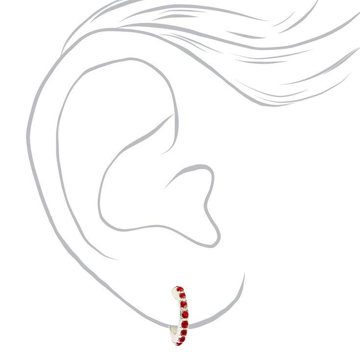 Silver Holiday Stone Huggie Hoop Earrings - 3 Pack,