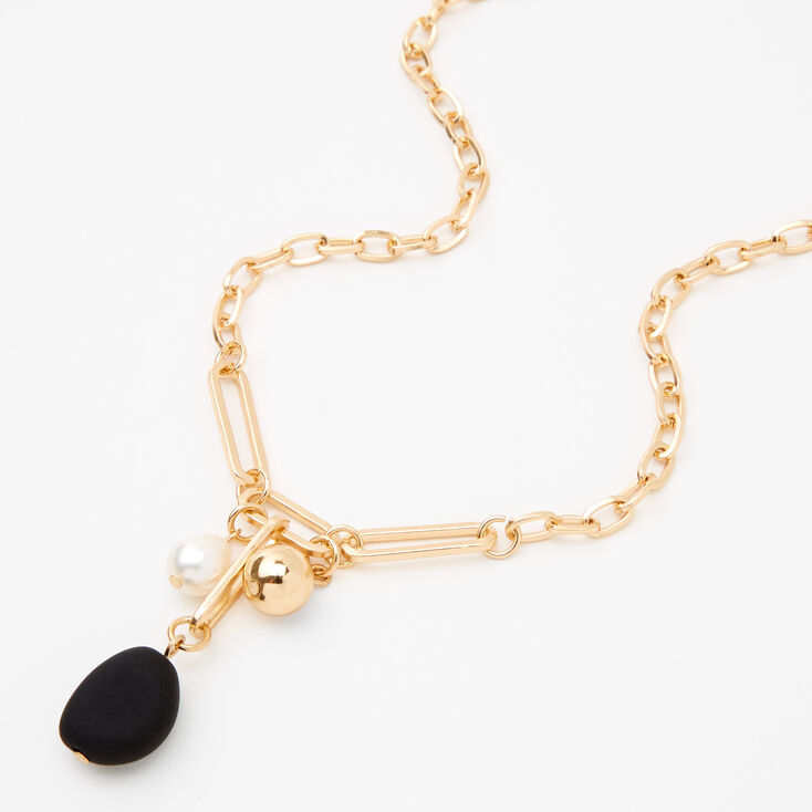 Gold Matte Pearl Pendant Chain Necklace - Black,