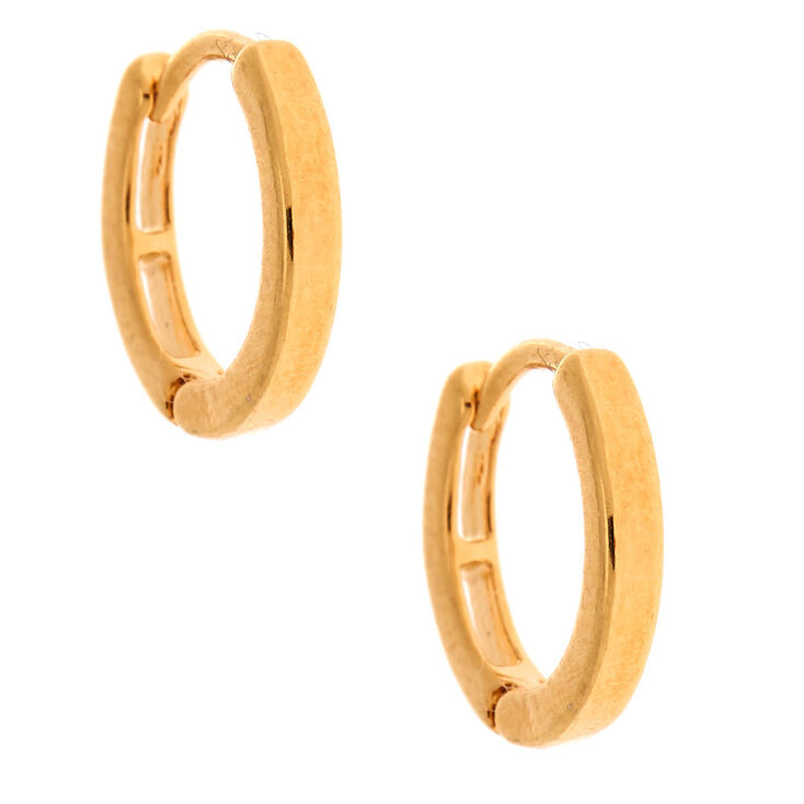 18kt Gold Plated 12MM Huggie Hoop Earrings,