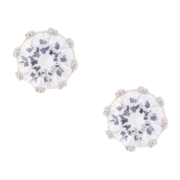 8MM Round Cubic Zirconia Stud Earrings,