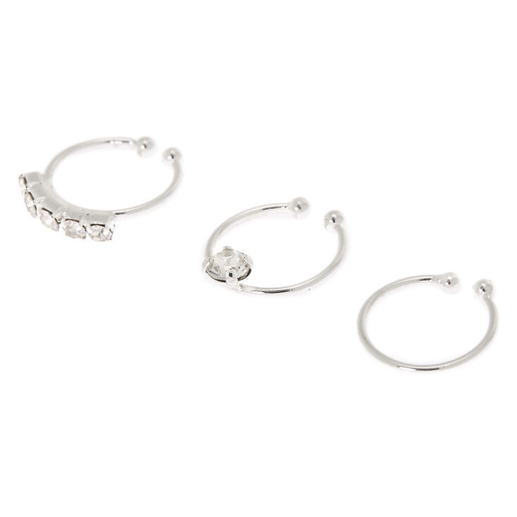 Silver Pretty Stone Faux Nose Rings - 3 Pack,