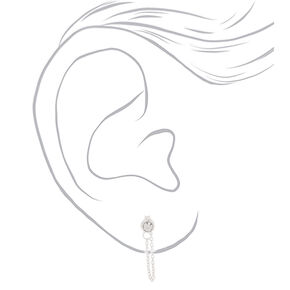 Sterling Silver 3MM Crystal Chain Stud Earrings,