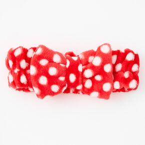 Polka Dot Bow Headwrap - Red,