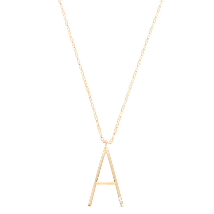 Oversized Initial Stone Pendant Necklace - A,