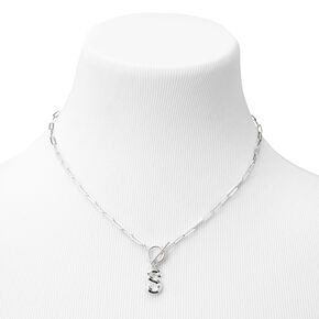 Silver Initial Toggle Chain Link Pendant Necklace - S,