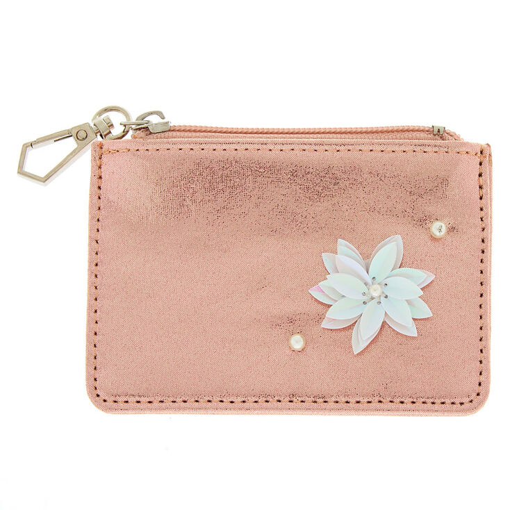 Sequin Flower Zip Coin Purse - Pink,
