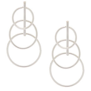 "Silver 2"" Circle Drop Earrings,"
