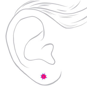 Sterling Silver Blue & Pink Rave Ball Stud Earrings,