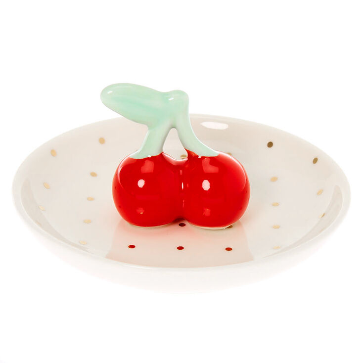 Cherries Jewelry Holder Tray - White,