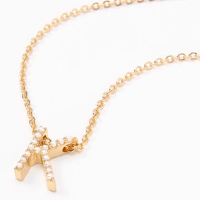 Gold Mini Pearl Initial Pendant Necklace - K,