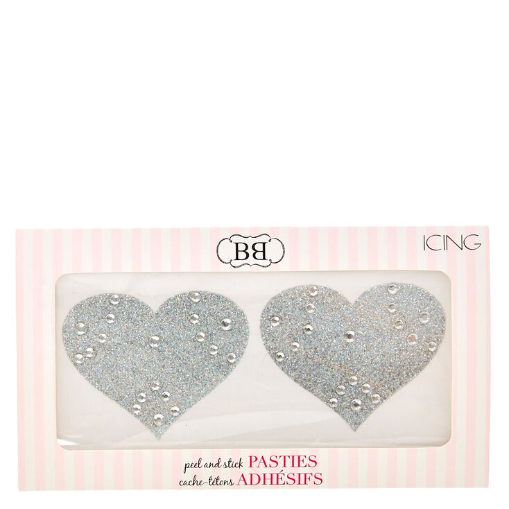 Silver Glitter Heart Peel & Stick Pasties,
