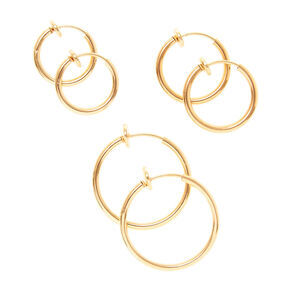 Gold Graduated Clip On Hoop Earrings - 3 Pack,