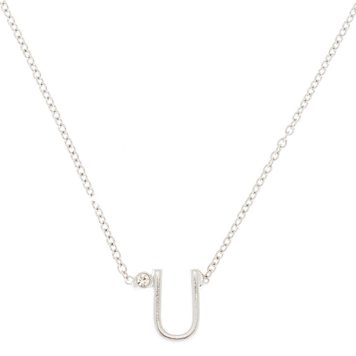 Silver Initial Necklace - U,