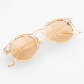 Round Translucent Sunglasses - Nude,