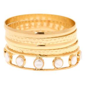 Gold Pearl Bangle Bracelets - 5 Pack,