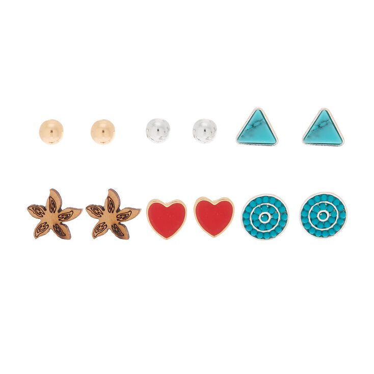 Mixed Metal Island Love Stud Earrings - 6 Pack,