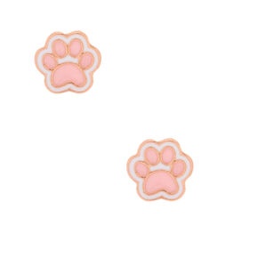 18kt Rose Gold Plated Enamel Paw Stud Earrings - Pink,