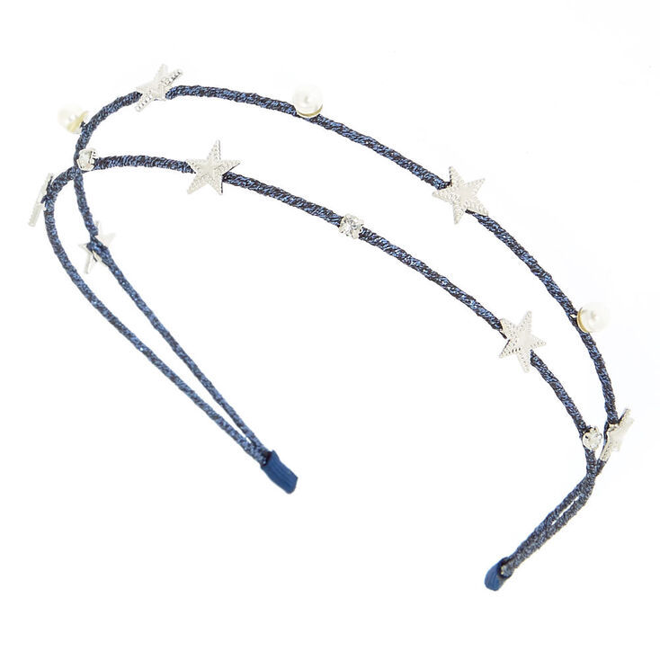 Night Sky Two Row Headband - Navy Blue,