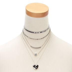 Black & White Resin Multi Strand Necklaces - 3 Pack,