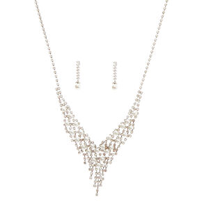 Silver Glass Rhinestone & Pearl Waterfall Jewelry Set - 2 Pack,