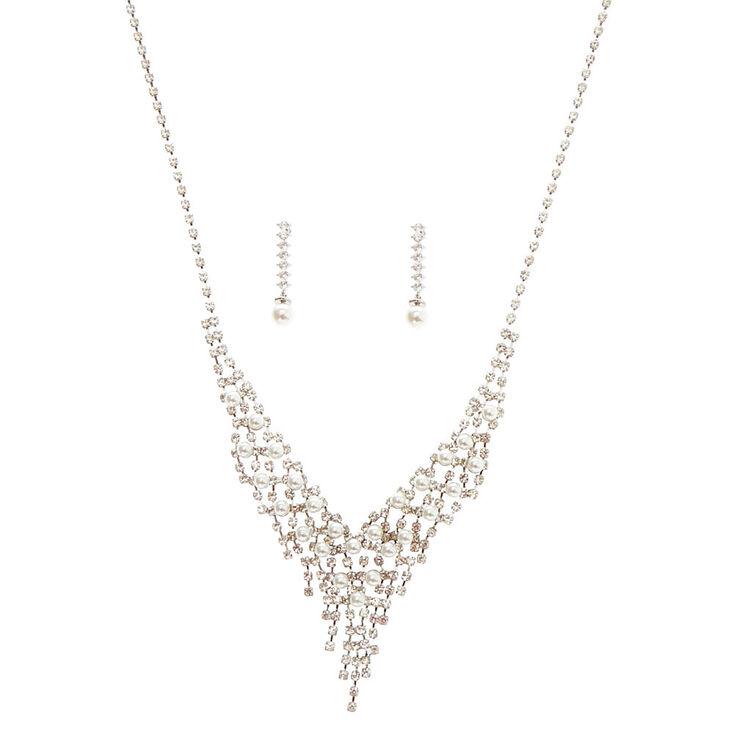 Silver Glass Rhinestone & Pearl Waterfall Jewelry Set - 2 Pack,