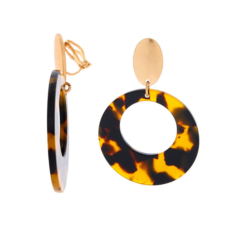 """Gold 2"""" Round Tortoiseshell Clip On Drop Earrings - Brown,"""