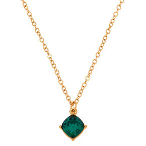 May Birthstone Pendant Necklace - Emerald,
