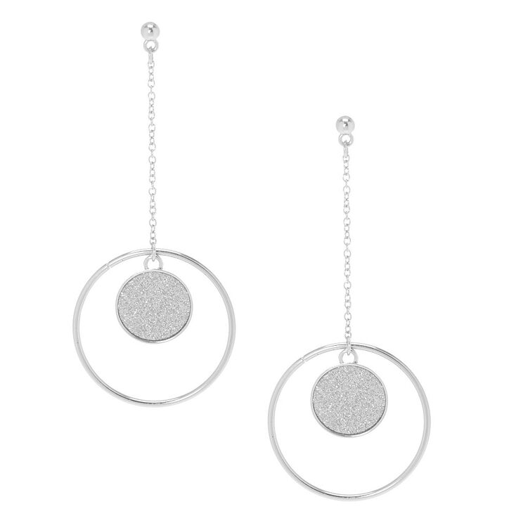 Glitter Silver Disk Drop Earrings,