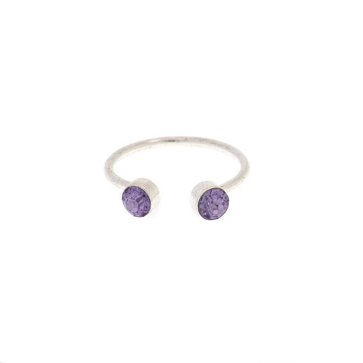 Open Cuff Purple Crystal Toe Ring,