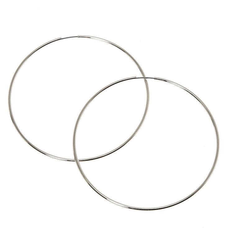 60MM Thin Silver Tone Hoop Earrings,