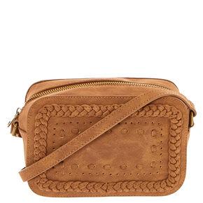 Braided Cognac Crossbody Camera Bag,