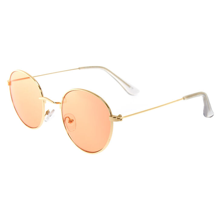 Red Tinted Gold Tone Aviator Sunglasses,