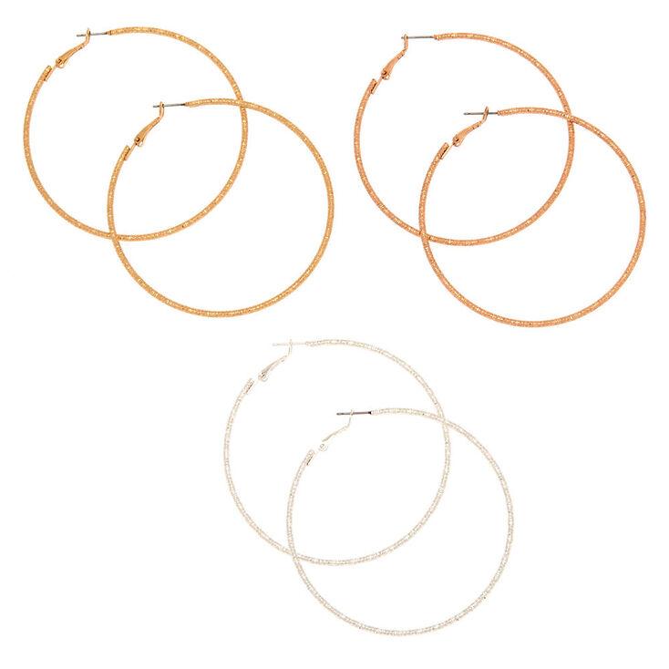 Mixed Metal 70MM Textured Hoop Earrings - 3 Pack,