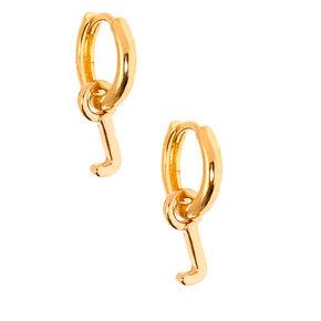 Gold 10MM Initial Charm Hoop Earrings - J,