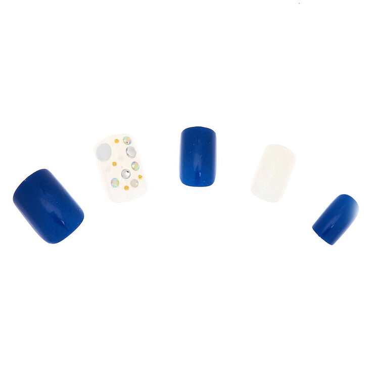 Aurora Borealis Bling Faux Nail Set - Navy, 24 Pack,