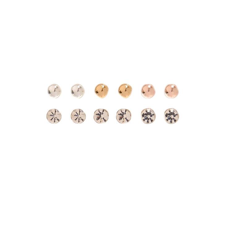 9 Pack Stud & Hoop Earrings,