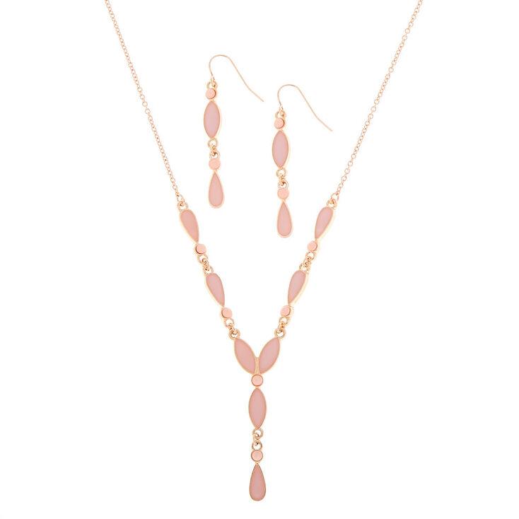 Rose Gold Teardrop Jewelry Set - Blush,
