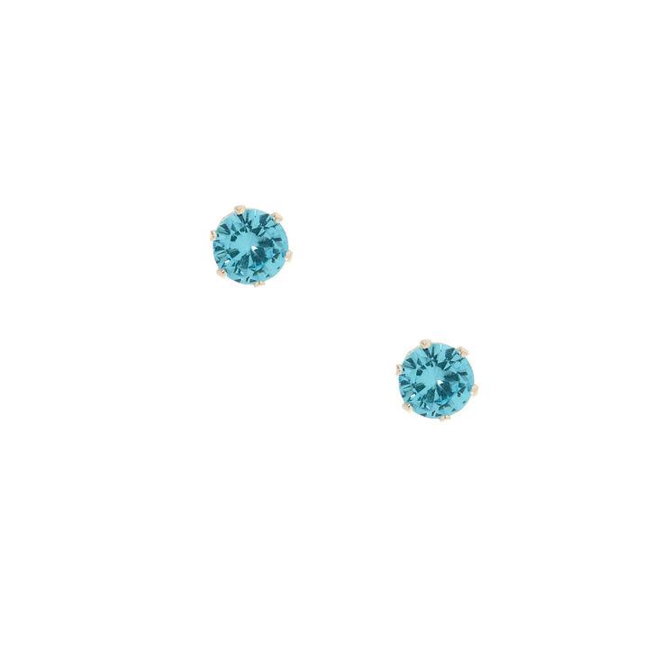 5MM Blue Cubic Zirconia Stud Earrings,