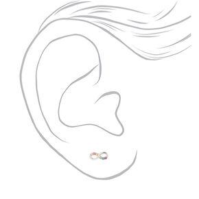 Sterling Silver Rainbow Crystal Infinity Stud Earrings,