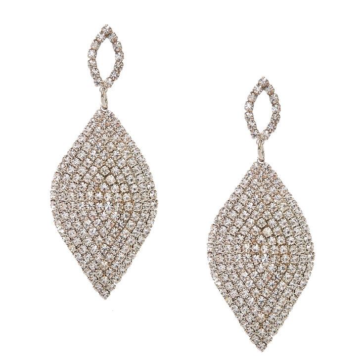 Pavè Curved Silver Tone Leaf Drop Earrings,