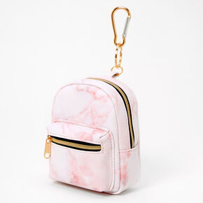 Pink Marble Mini Backpack Keychain,