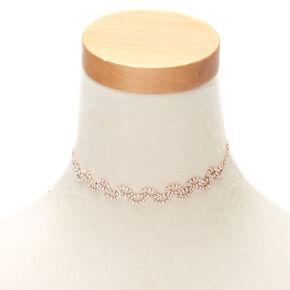 Rose Gold Rhinestone Leaf Choker Necklace,