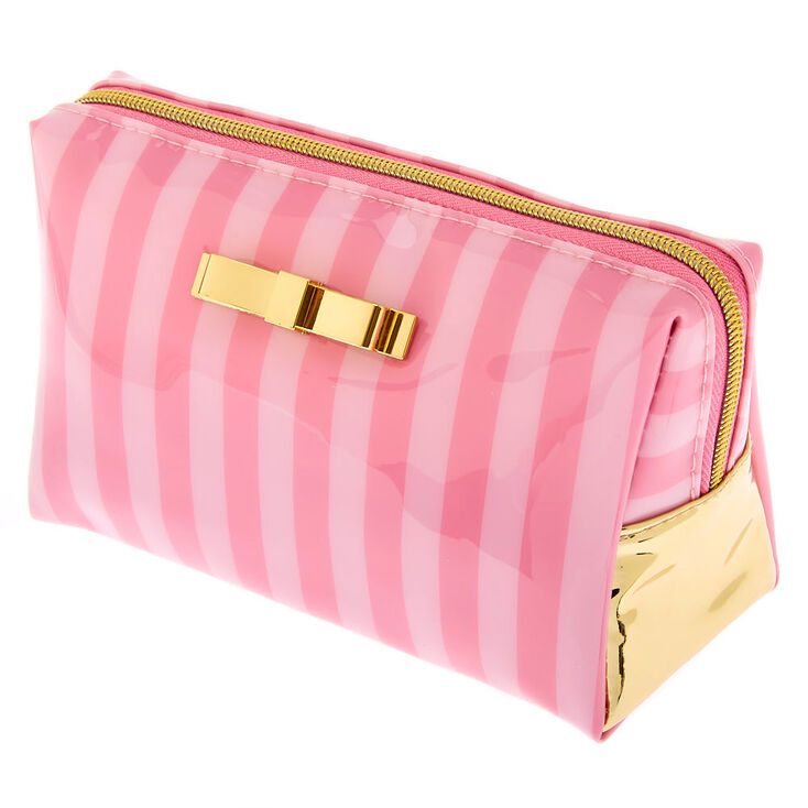 Striped Makeup Bag - Pink,