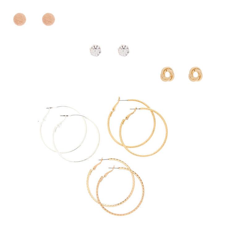 Mixed Metal Earring Set - 6 Pack,