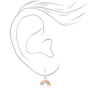 "Sterling Silver 0.5"" Rainbow Drop Earrings,"
