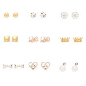 Mixed Metal Chic Stud Earrings - 9 Pack,