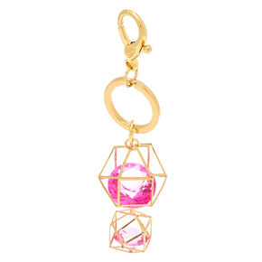 Geometric Pink Crystal Keychain - Gold,